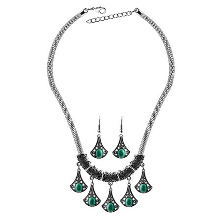 Women Retro Jewelry Turquoise Necklace + Ethnic Style Earrings Eardrop Ear Studs for Cocktail Party