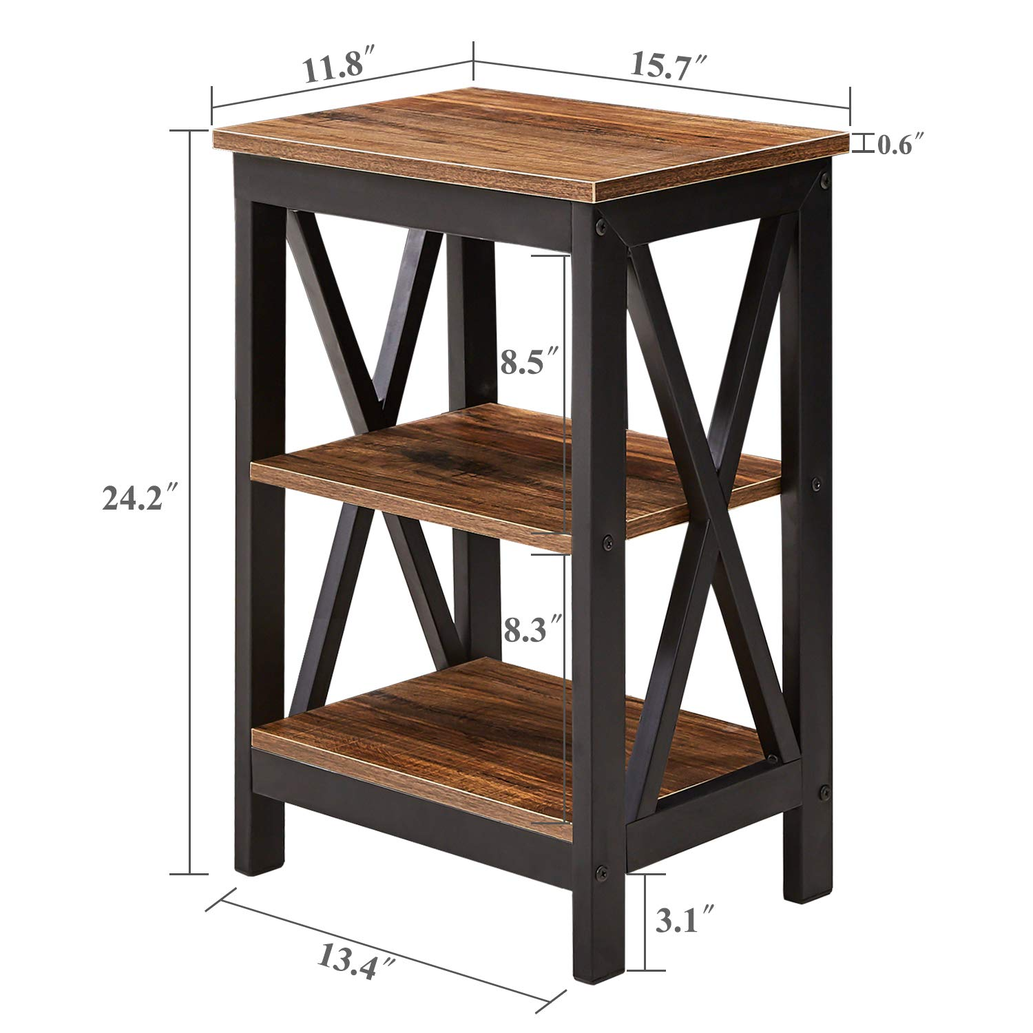 Tier Nightstand Wood Bedside End Table with Door Large Closed Cabinet Storage Compartment /& Open Shelf Modern Furniture for Bedroom Livingroom Dorm Kids Room /& e-Book by jn.widetrade