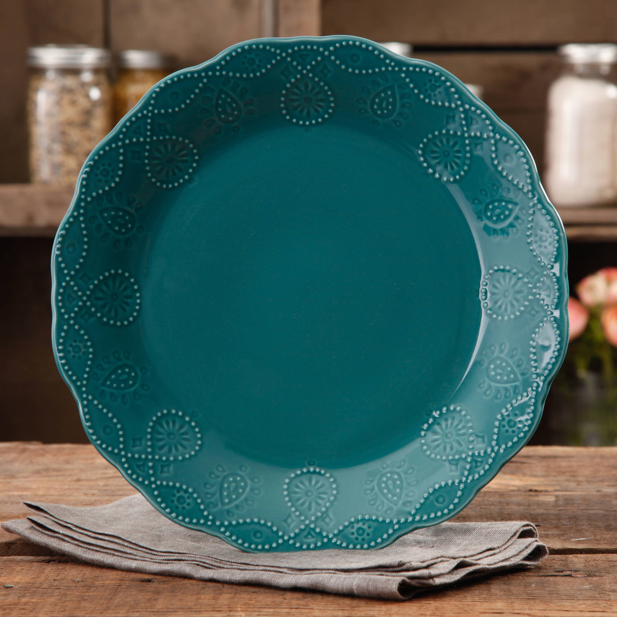 & The Pioneer Woman Cowgirl Lace Teal Dinner Plate - Walmart.com