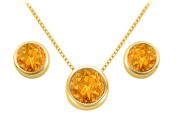 November Birthstone Citrine Pendant and Stud Earrings Set in 18K Yellow Gold Vermeil by Love Bright