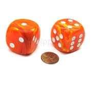 Chessex Vortex 30mm Large D6 Dice, 2 Pieces - Solar with White Pips #DV3013