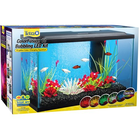 Tetra colorfusion 10 gallon glass bubbling led kit with for Fish tank filter pump walmart