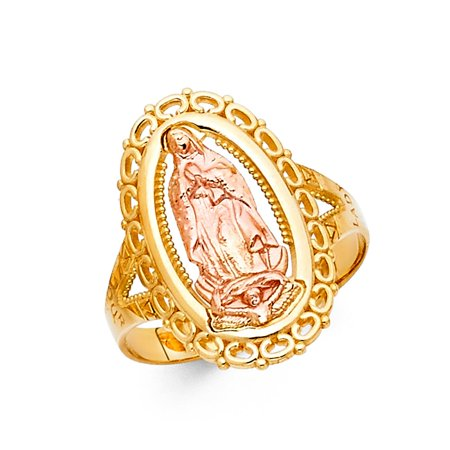 14k Two Tone Italian Gold 20mm Oval Circle Cut Out De Virgen Guadalupe Religious Ring Size 6.5 Available All Sizes