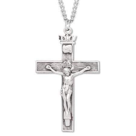 Men's Sterling Silver Crown Top Textured Crucifix Necklace with Endless 24