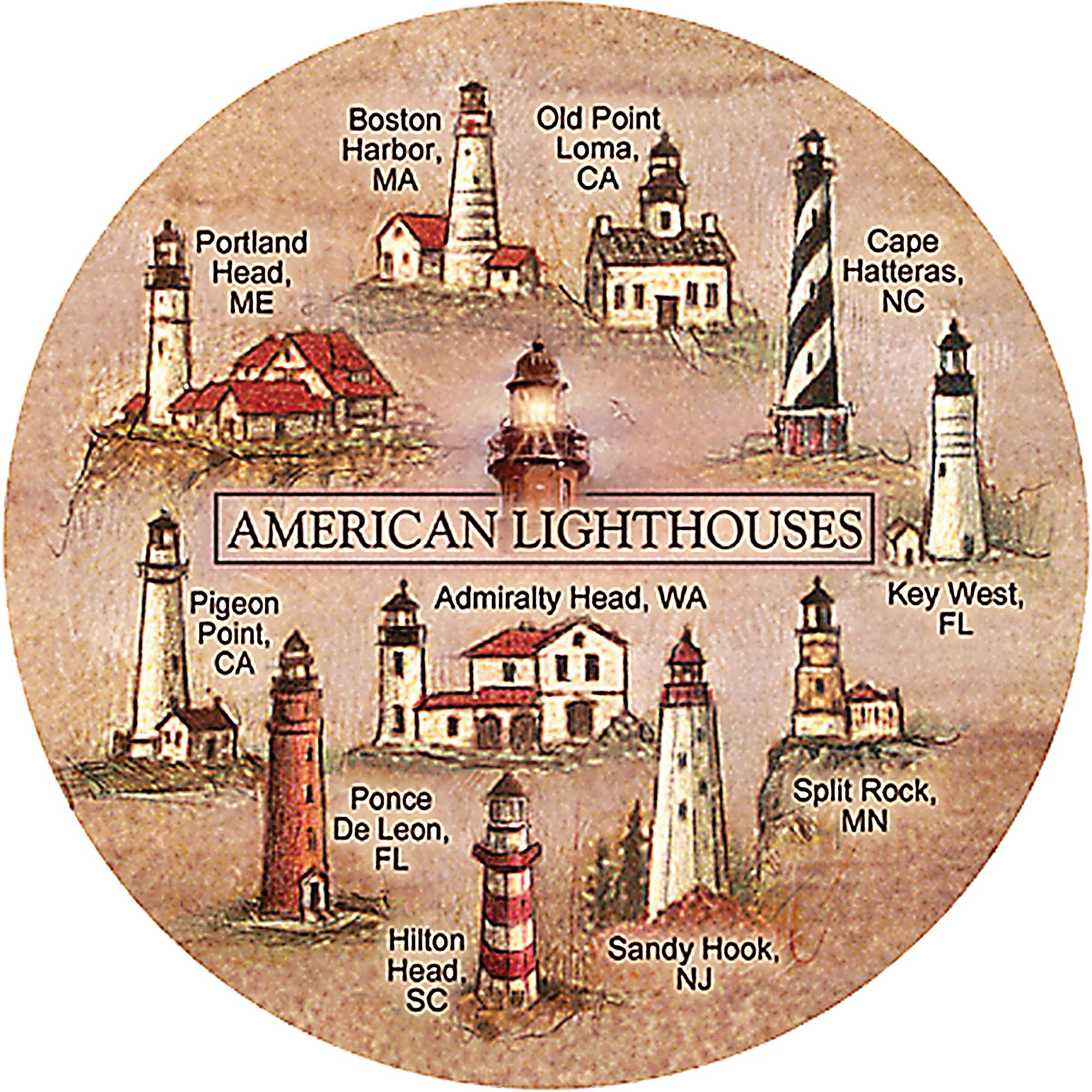 Thirstystone Drink Coasters Set, Lighthouses