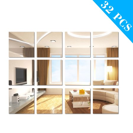 TSV 32 Pieces Flexible Mirror Sheets Non Glass Mirror Self Adhesive Tiles Mirror Wall Stickers for Home Decoration, 6 x 6 Inches (Cd Wall Tiles)