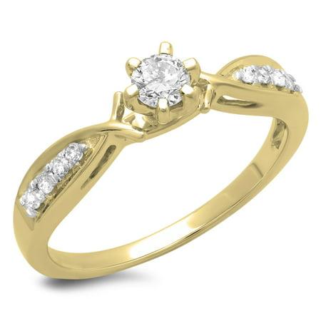 Dazzlingrock Collection 0.33 Carat (ctw) 10K Round Cut Diamond Solitaire Accents Engagement Ring 1/3 CT, Yellow Gold, Size 5.5 Ctw Round Cut Diamond Solitaire