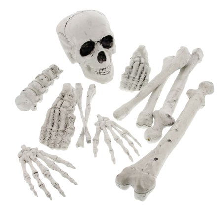 Halloween Haunters 12pc Bag Set Plastic Skeleton Bones Prop Decoration - Halloween Graveyard Jam
