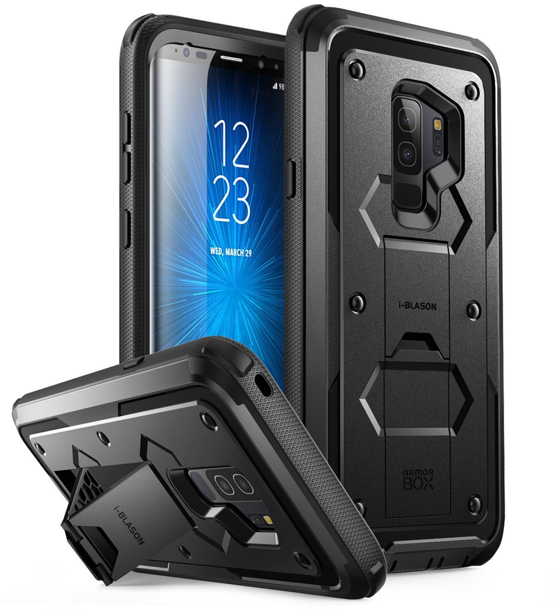 i-Blason Galaxy S9 Case, Armorbox Full body Heavy Duty Protection Bumper Case WITHOUT Screen Protector Black