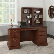 Bush Furniture Saratoga Executive Desk and Two 5 Shelf Bookcases in Harvest Cherry