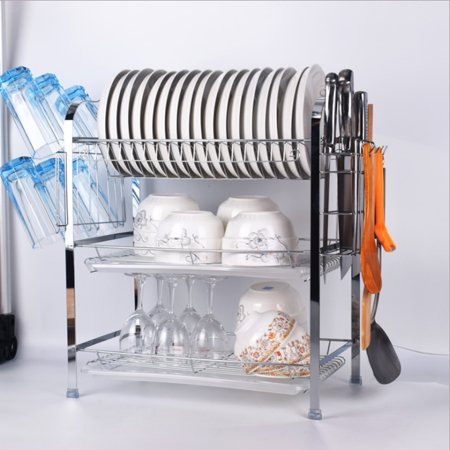 Multifunctional 3 Layer Tier Chrome Alloy Plate Drainer Cup Cutlery Holder Dish Rack Drip Tray Organizer Kitchen (Drip Tray No Drain)