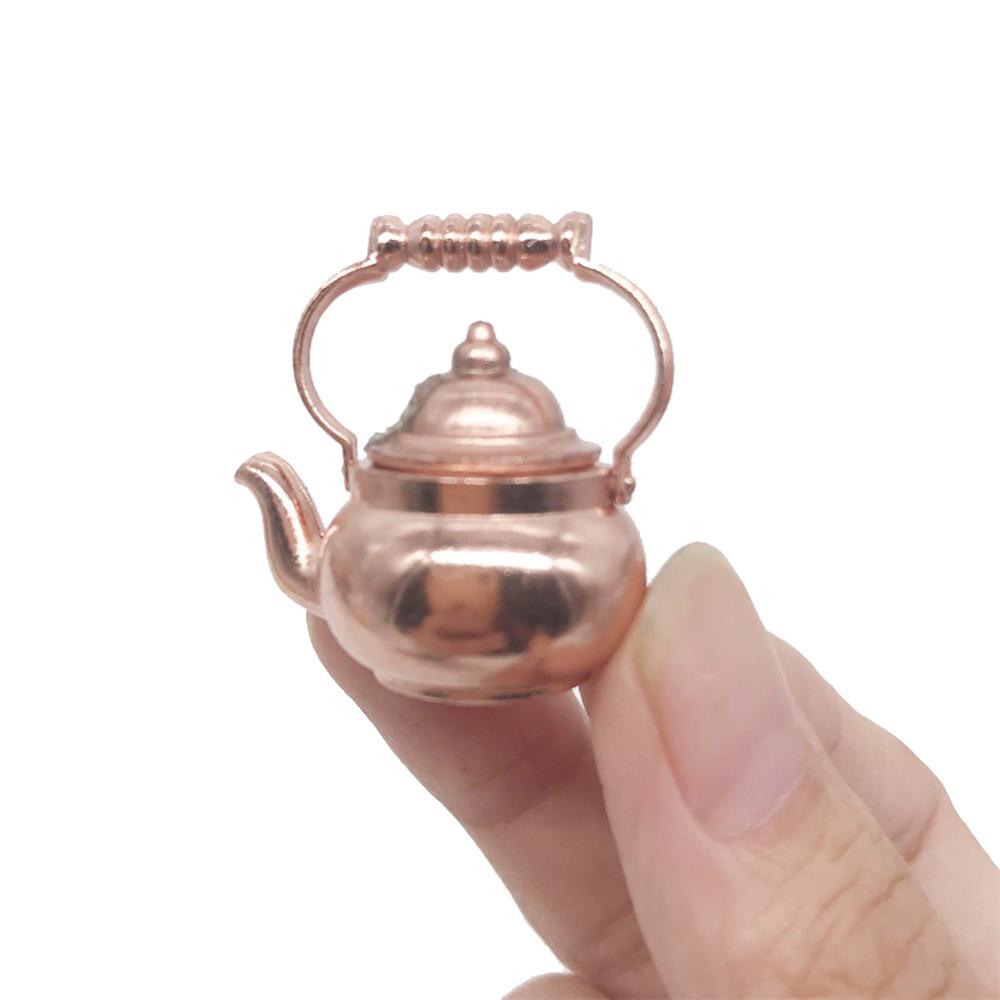 Mini Soup pot 1//12 Dollhouse Miniature Kitchen Copper Pot with Lid To