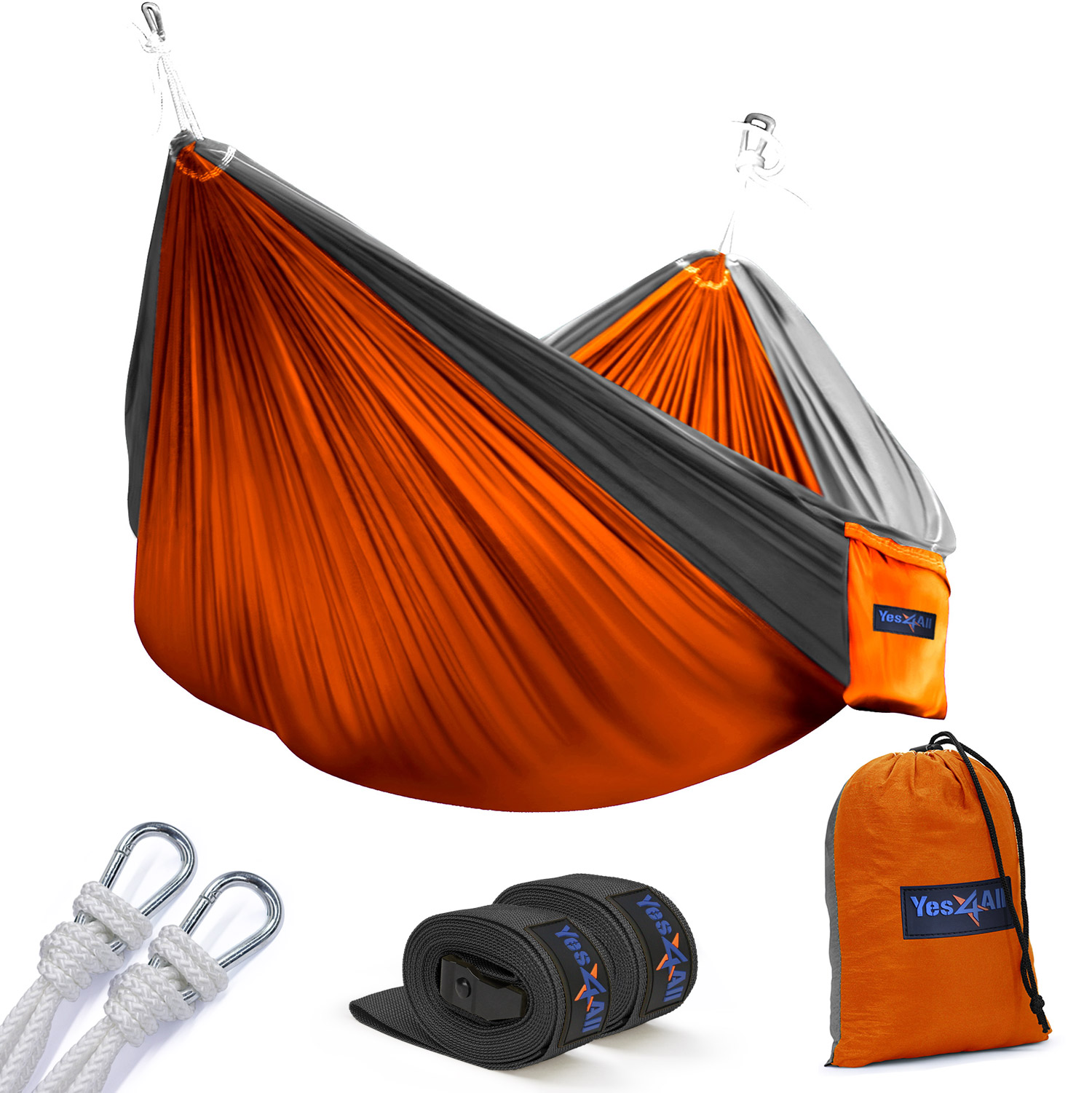 Yes4All Ultralight Portable Parachute Nylon Double Hammock With Tree Straps - Carry Bag Included