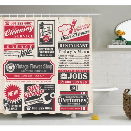 1950S Decor Shower Curtain Set, Retro Newspaper Magazine Design On Outdated Layout Different Topics Title Artwork, Bathroom Accessories, 69W X 70L Inches, By Ambesonne