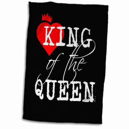 3dRose King of the queen white text, black background. Red heart and a crown - Towel, 15 by 22-inch](Crown Queen Of Hearts)
