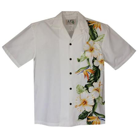 Hibiscus Bird White Vertical Border Wedding Hawaiian Shirt