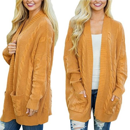 - Womens Plus Size Knit Texture Casual Loose Open Front Cardigan Sweaters Pocket, Yellow