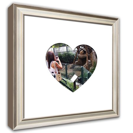 Heartstagram Picture Frame - Wood Frame With Heart Shaped Mat Cut for 4x4 Photo