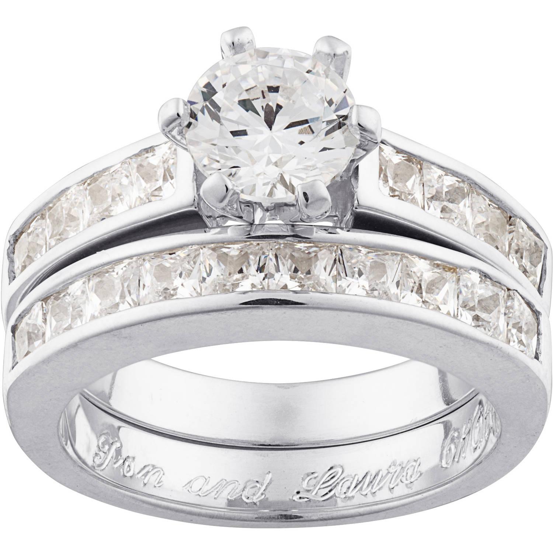 Personalized Sterling Silver 5.25 CZ Bridal Set