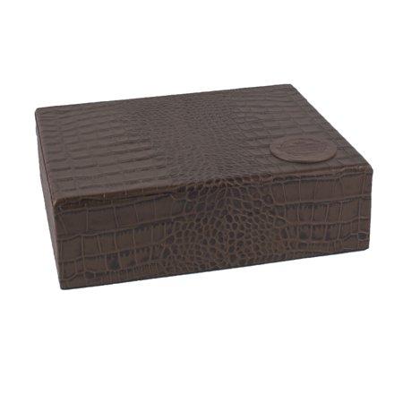 Tampa Fuego 20 Cigar Crocodile Grain Leather Humidor Cedar Box Brown Made in USA ()