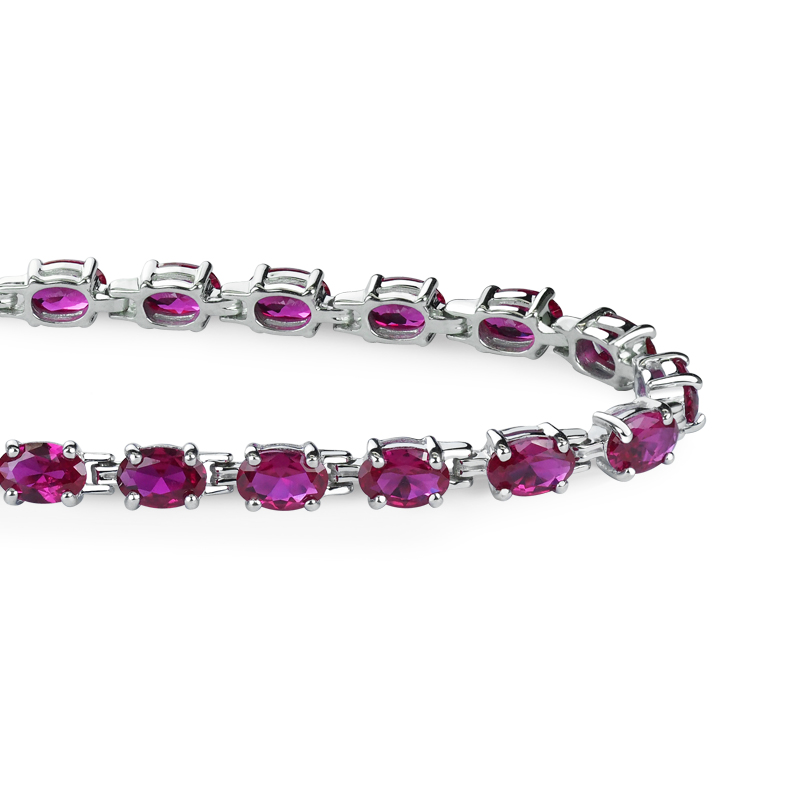 Sterling Silver 12.6 CTTW Lab-grown Ruby Tennis Bracelet for Mother's Day by Sterlyn Silver Corp