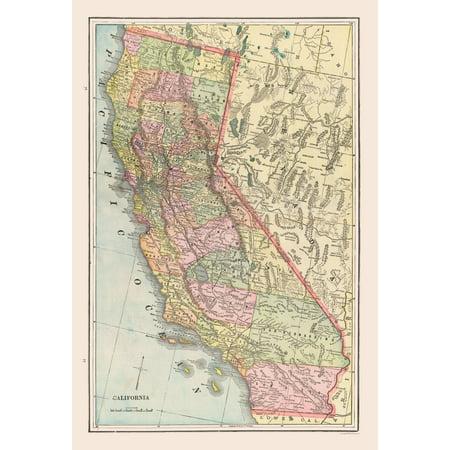 Old State Map - California - Cram 1892 - 23 x 33.74