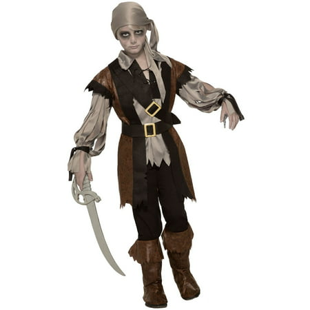 Boys Zombie Pirate Boy Costume - Zombie Halloween Makeup Boy