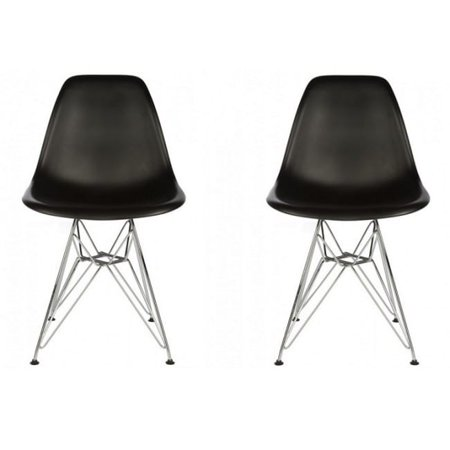 Contempo Living Contemporary Retro Molded Style Black Accent Plastic Dining Shell Chair with Steel Eiffel Legs (Set of 2)