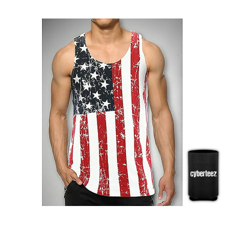 USA American Flag Men's Distressed Patriotic Tank Top + Coolie (American Flag Tank)