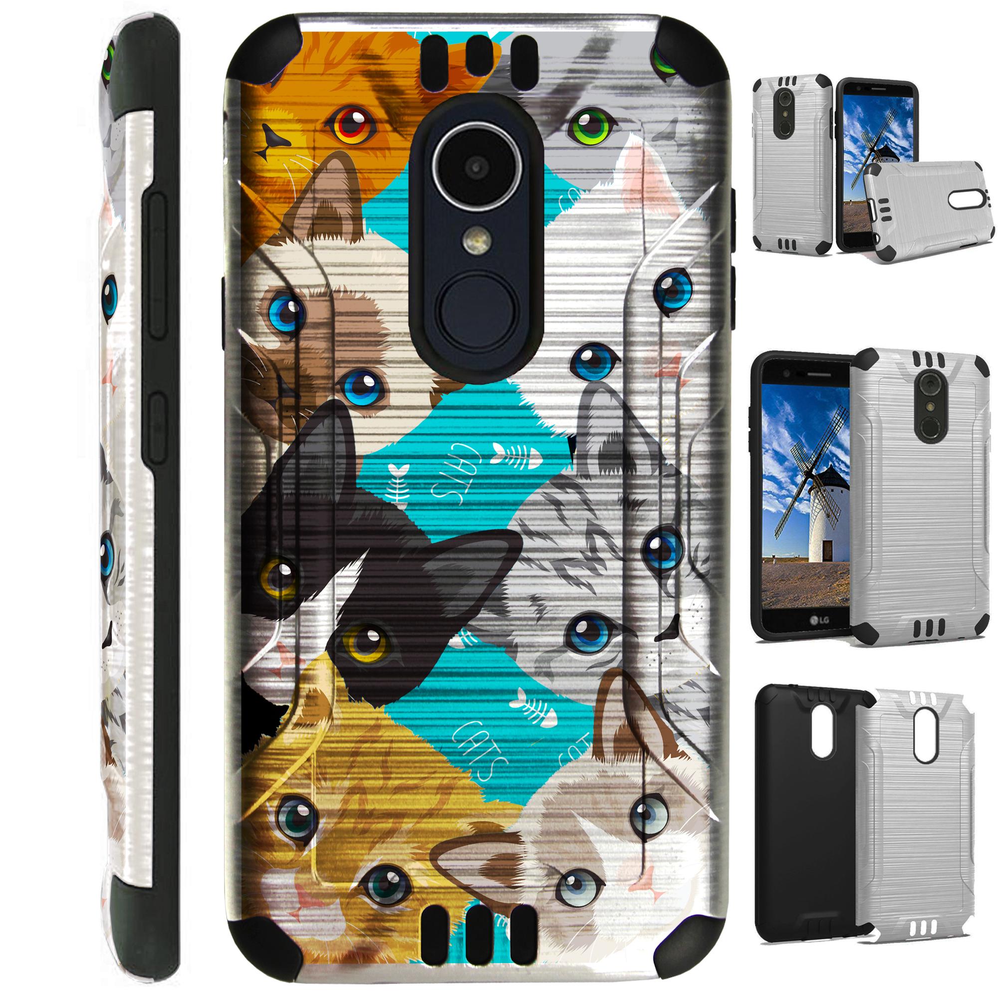 For LG Rebel 3 | LG Rebel 4 Case Brushed Metal Texture Hybrid TPU Silver Guard Phone Cover (Cute Cat Kittens)