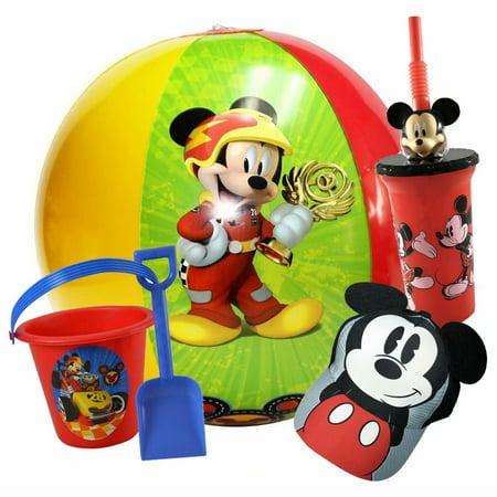 Disney Mickey Mouse Beach Essential Set Beach Ball, Sand Bucket, Cap Hat, - Disney Bucket Hat