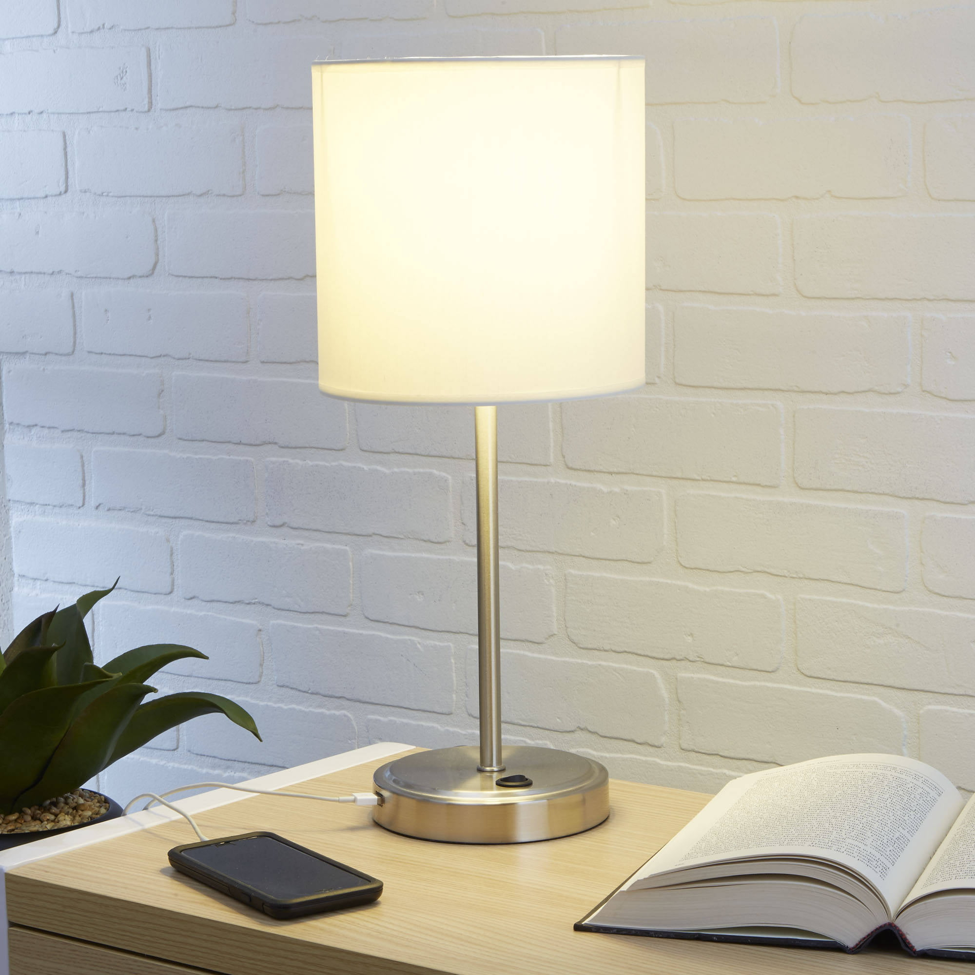 Bedroom Home Decor Desk White Stick Lamp With Built In USB