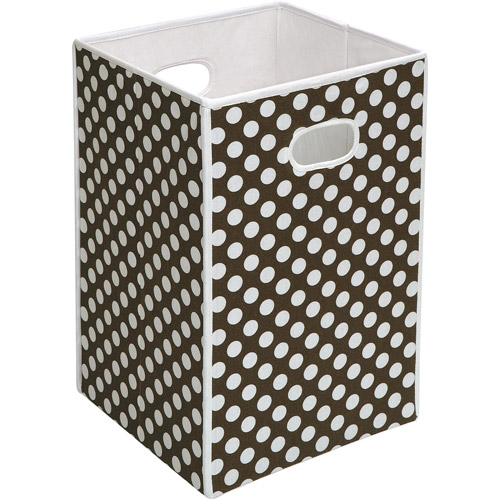 Badger Basket - Folding Hamper/Storage Bin, Brown with White Polka Dots