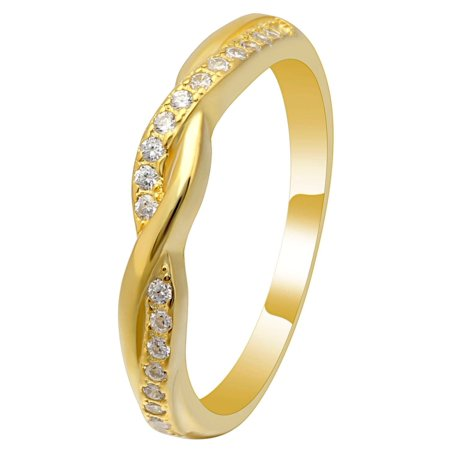 Ginger Lyne Collection Queena Twisted 14KT Gold over Sterling Anniversary Wedding Band Ring