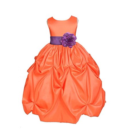 Ekidsbridal Orange Satin Taffeta Pick-Up Bubble Flower Girl Dresses Junior Toddler Formal Special Occasions Wedding Pageant Dresses Ball Gown Dance Recital Reception Birthday Girl Party 301S