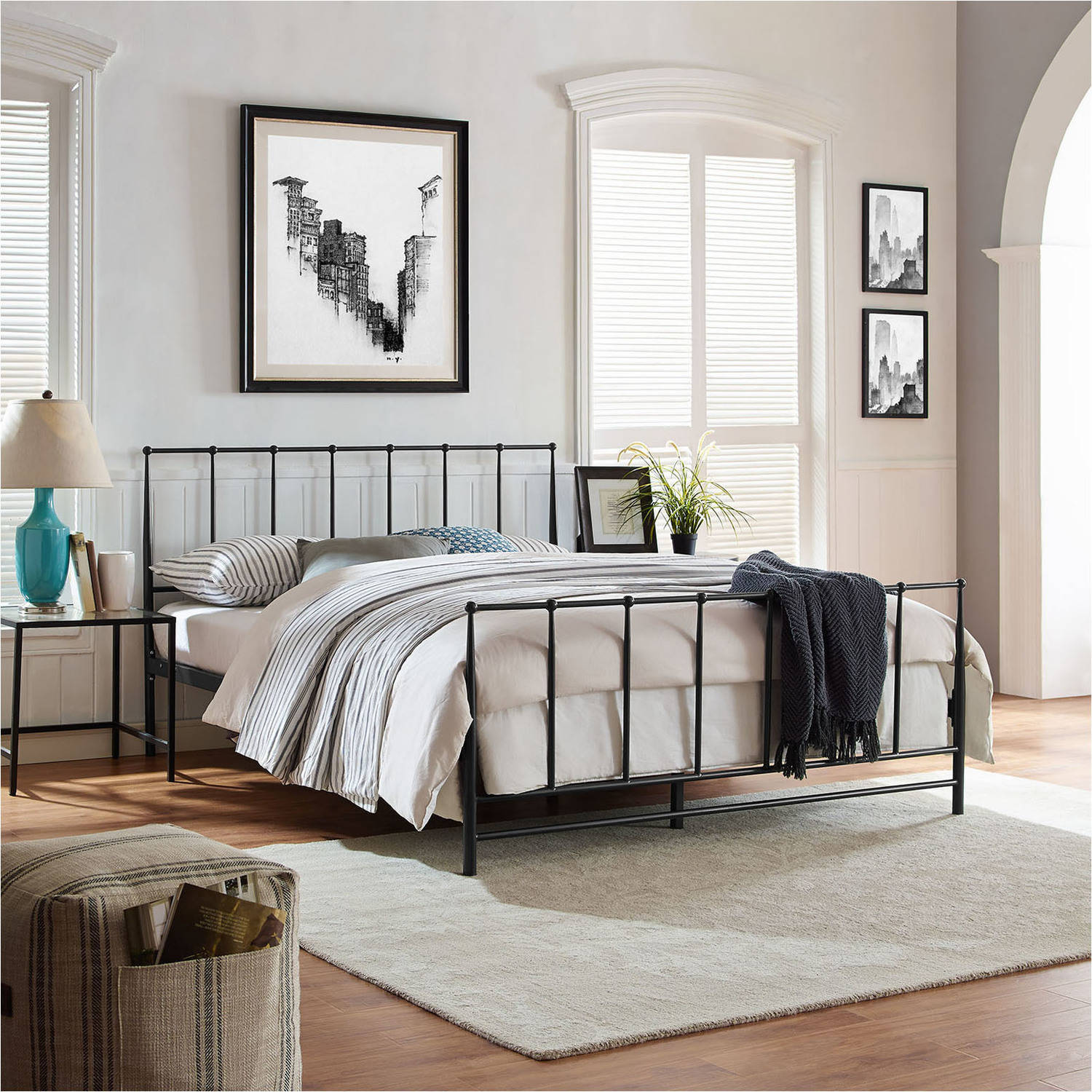 Modway Estate Queen Steel Platform Bed, Multiple Colors