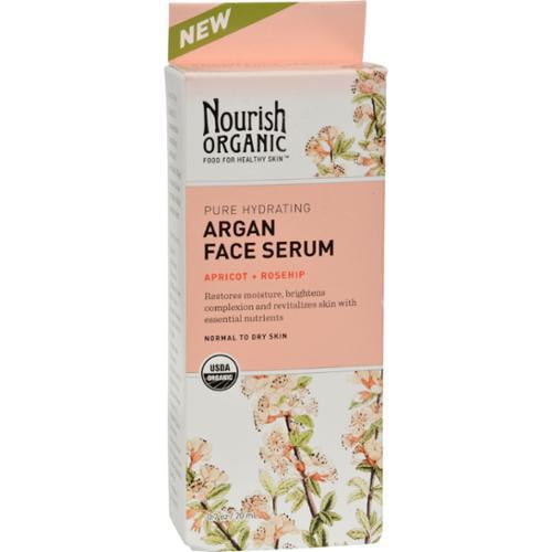Nourish Organic Face Serum - Pure Hydrating Argan Apricot and Rosehip - .7 oz