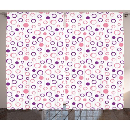 Tone Geometric Circles - Geometric Circle Decor Curtains 2 Panels Set, Pastel Toned Feminine Circular Figure Spherical Dots Spread Artwork, Window Drapes for Living Room Bedroom, 108W X 84L Inches, Pink Violet, by Ambesonne