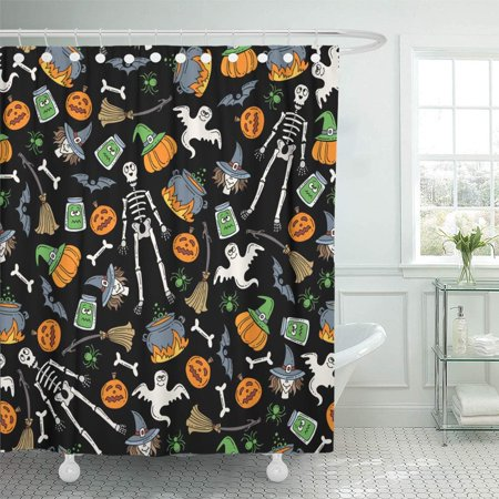 PKNMT Attire with Colored Symbols of Halloween on Black Color for Design Site Attribute Waterproof Bathroom Shower Curtains Set 66x72 inch for $<!---->