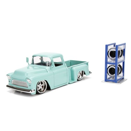 Jada Toys 1:24 Scale Just Trucks 1955 Chevrolet Stepside Pickup Truck Light Turquoise with Extra Wheels