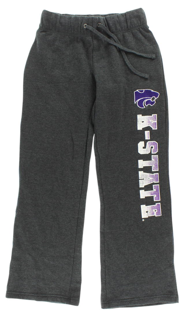 Stadium Womens Kansas State Wildcats College Side Screen Print Pants Grey by
