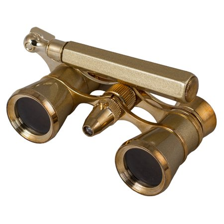 Levenhuk Broadway 325N Opera Glasses (gold lorgnette with LED - Glasses With Led Lights