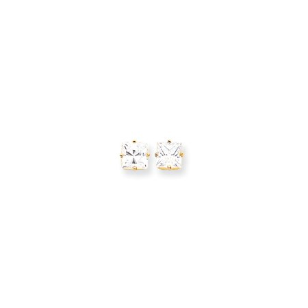 14k Yellow Gold 7mm Princess Cut Cubic Zirconia Post Stud Ball Button Earrings Gemstone Fine Jewelry For Women Gift Set