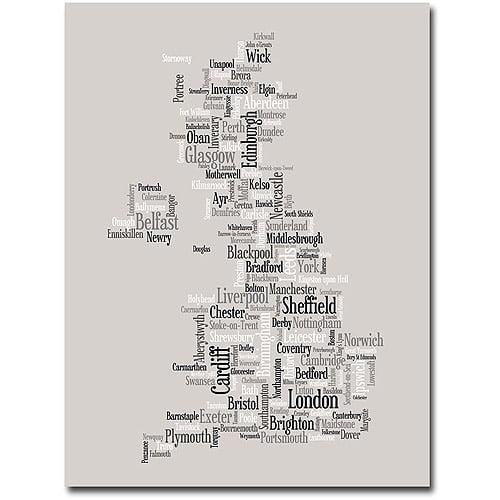 """Trademark Art """"UK City Text map"""" Canvas Wall Art by Michael Tompsett"""