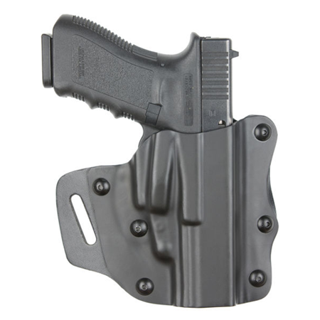 SAFARILAND Model 547 PRD Open Top Concealment Belt Slide Holster Finish: STX Plain Black Gun Fit: Glock 19 Hand: