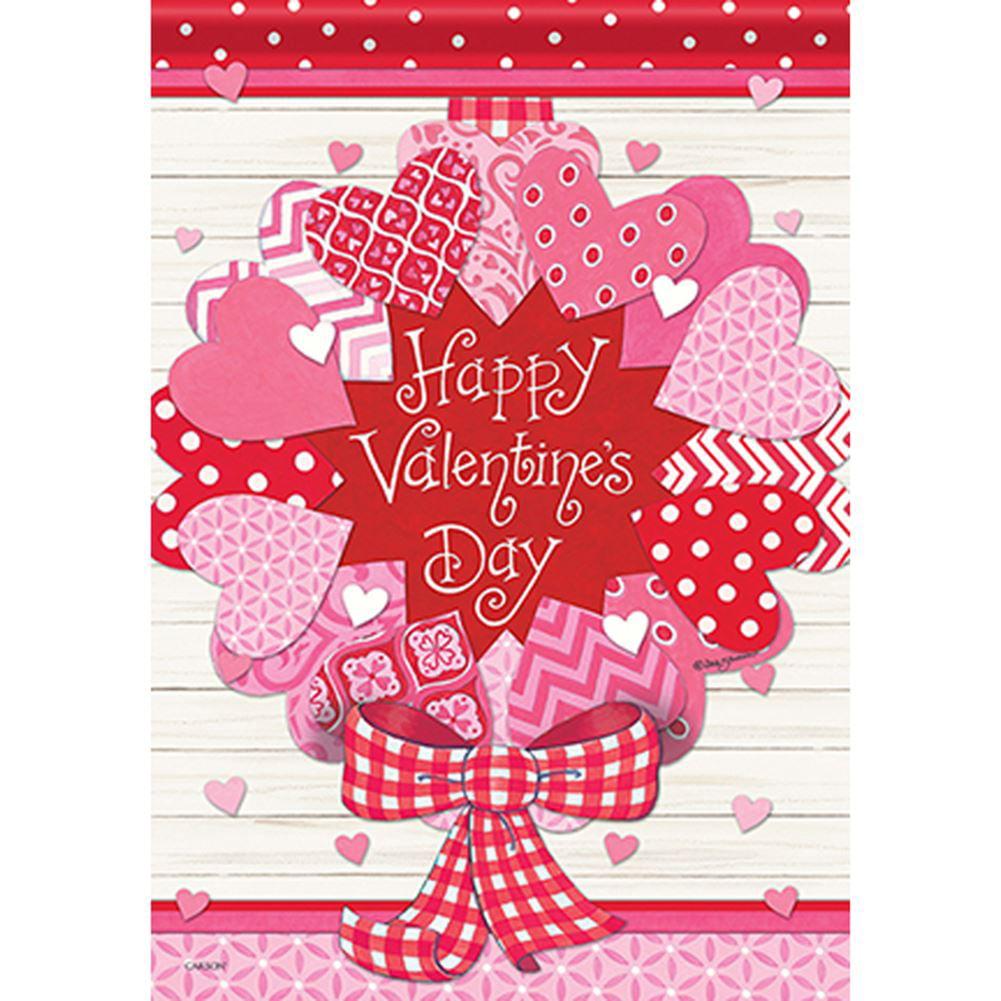 Valentine/'s Day Garden Flag Heart Decor Outdoor Flag Fabric Double-sided