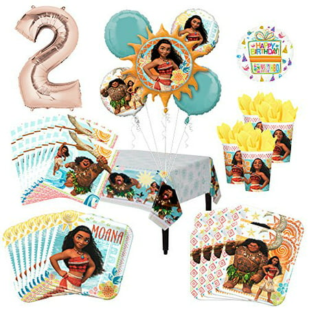 Moana Party Supplies 8 Guest Kit and 2nd Birthday Balloon Bouquet Decorations for $<!---->