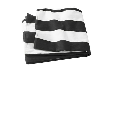 Port Authority PT43 Cabana Stripe Resort Beach Towel, Black, OSFA