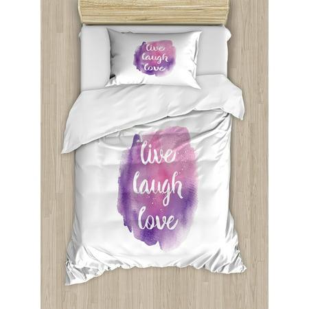Live Laugh Love Twin Size Duvet Cover Set Watercolor