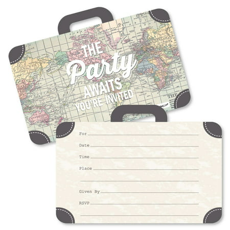 World Awaits - Shaped Fill-In Invitations - Travel Themed Invitation Cards with Envelopes - Set of 12 - Hollywood Theme Invitation